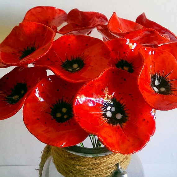 Ceramic poppy flowers 5 fabulous hand crafted pottery poppy ceramic poppy flowers 5 fabulous hand crafted pottery poppy flowers remembrance day mightylinksfo
