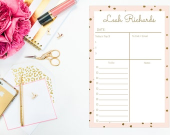 Personalized Blush and Gold Day Planner Notepad