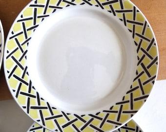 6 Mid Century Yellow and Black Dessert Plates - French Vintage 50s Tableware - Retro Dinnerware