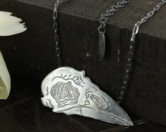 Crow necklace - Skull necklace - Handmade - Raven necklace - Sterling silver necklace - Handmade
