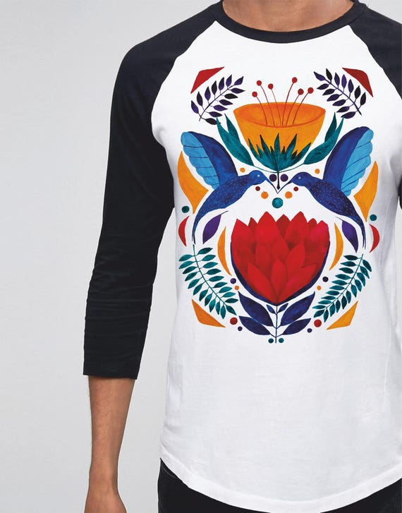 Love Birds | Unisex Raglan T-Shirt | 3/4 sleeves | Baseball shirt | Apparel for her / him | Watercolor | Hummingbirds | Ethnic | ZuskaArt