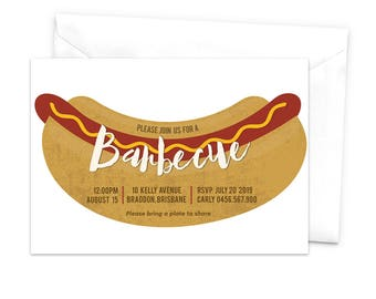 Barbecue Invitation Hotdog Invitation BBQ Cookout Invitation Sausage Frankfurter Wiener Hot Dog Bun Food Eating Backyard BBQ