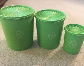 Vintage Green Tupperware Canisters (set of 3)