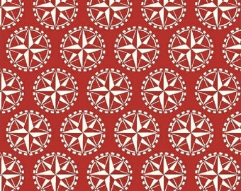 Windham - Sail Away - Nautical - Red - Fabric by the Yard 37378-2