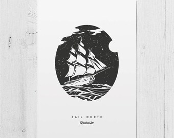 Poster Art Print - Sail North - Sails Ocean Night Sky Stars Moon