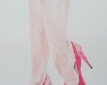 Original watercolor of lady's  feet in a red shoes