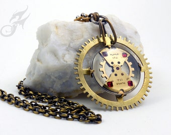 Industrial Steampunk Necklace, Watch Parts in Ice Resin with Red Rhinestones, Clock Gear, Collage, Assemblage #N0396 by Robin Taylor Delargy