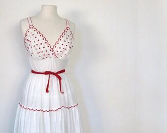 Vintage 1940s RED DOT Cotton Slip Dress M