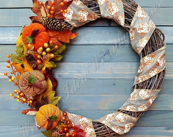 Fall Wreath,Plush Pumpkins Wreath,Thanksgiving Wreath,Autumn Wreath,Fabric Pumpkin Wreath,Seasonal Wreath,Handmade Wreath,Front Door Wreath
