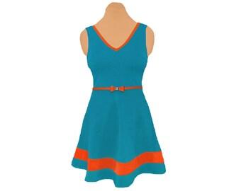 Aqua + Orange Skater Dress