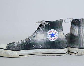 80s Converse Plaid High Top Made In USA Chuck Taylor Converse Allstars, 9.5 Mens