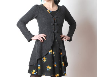 Gray wool jacket, Dark grey swallowtail jacket, Grey womens steampunk jacket, Long wool jacket, Womens clothing, MALAM