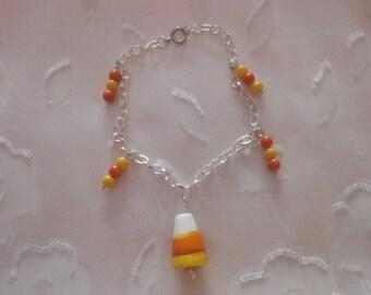 Handmade, Halloween Candy Corn Lampwork Glass Silver Bracelet, Halloween Jewelry, Halloween Bracelet, Lampwork Glass Bracelet, Charm