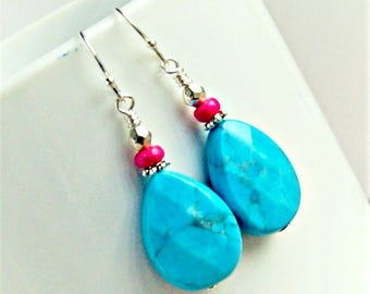 colorful drop earrings, dangle, boho jewelry, colorful jewelry, stone earrings, southwestern jewelry, gift for her
