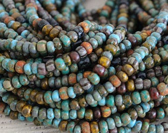 Size 6 Aged Seed Beads - Striped Picasso Seed Beads For Jewelry Making - Supply - Choose Amount