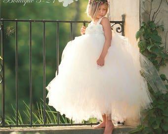 Ivory Flower Girl Dress, Ivory Tutu Dress, Ivory Tulle Dress, Ivory Dress, Ivory Wedding, Ivory, Flower Girl Dress, Tutu Dress, Tulle Dress