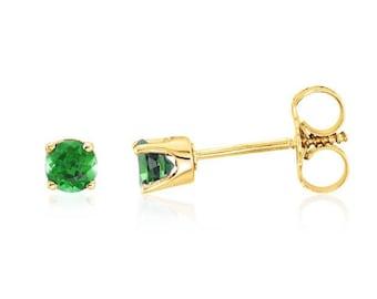 14K Emerald Studs - 14K Yellow Gold 3mm Genuine Green Emerald Stud Earrings - May Birthstone - Girl's Gift Idea - Screw Back Earrings