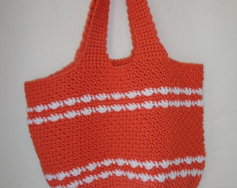 Crocheted Beach Bag - Large Tote - Crochet Purse - Crochet Bag - Crochet Tote - Shoulder Bag - Diaper Bag - Coral Bag