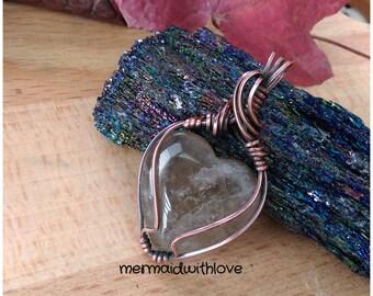 Smoky Quartz Heart pendant in Antiqued Copper