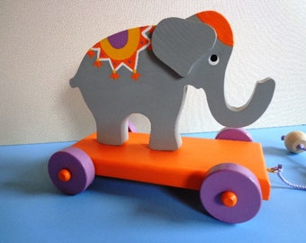 Wooden Elephant Pull Toy - Blue Ribbon Winner - Hand Crafted - Hand Painted - Classic Toy - Heirloom Quality - Eco Friendly Kids Toy