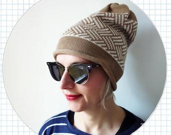 geometric knit hat, 100% merino wool beanie, winter hat, hazelnut, white