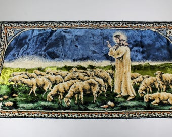 Good Shepherd Tapestry Jesus Christ Vintage Religious Picture Religious Decor  36 x 18