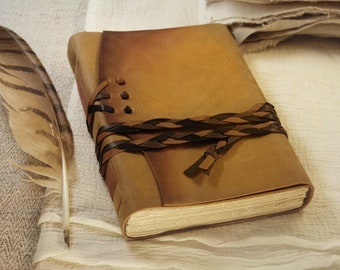 yellow leather journal - rustic style notebook with vintage style paper, Italian quality leather journal