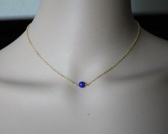 Natural Blue Lapis Lazuli necklace, 14K Gold filled, blue lapis necklace, September birthstone, Graduation gifts, blue stone necklace