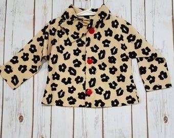 Girls Cheetah Corduroy Jacket, spring jacket, girls 3T coat, cheetah print