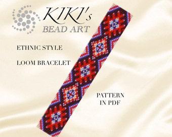 Bead loom pattern - Ethnic style - LOOM bracelet PDF pattern instant download
