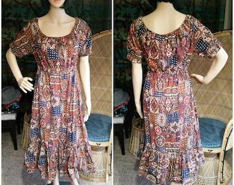 60's Bohemian Peasant Dress, Vintage Handmade Boho Peasant Dress, Bohemian Dress, Brown Bohemian Dress, Festival Dress, Summer Dress, LG