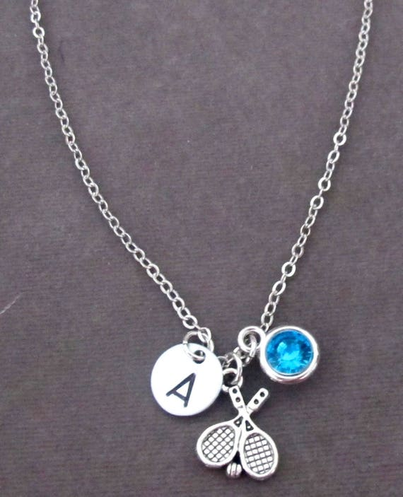 Tennis Necklace,Sports Jewelry,Tennis Team Gift,Tennis Racket Charm, Tennis Jewelry, Tennis Coach Gift, Christmas Gift, Free Shipping In USA