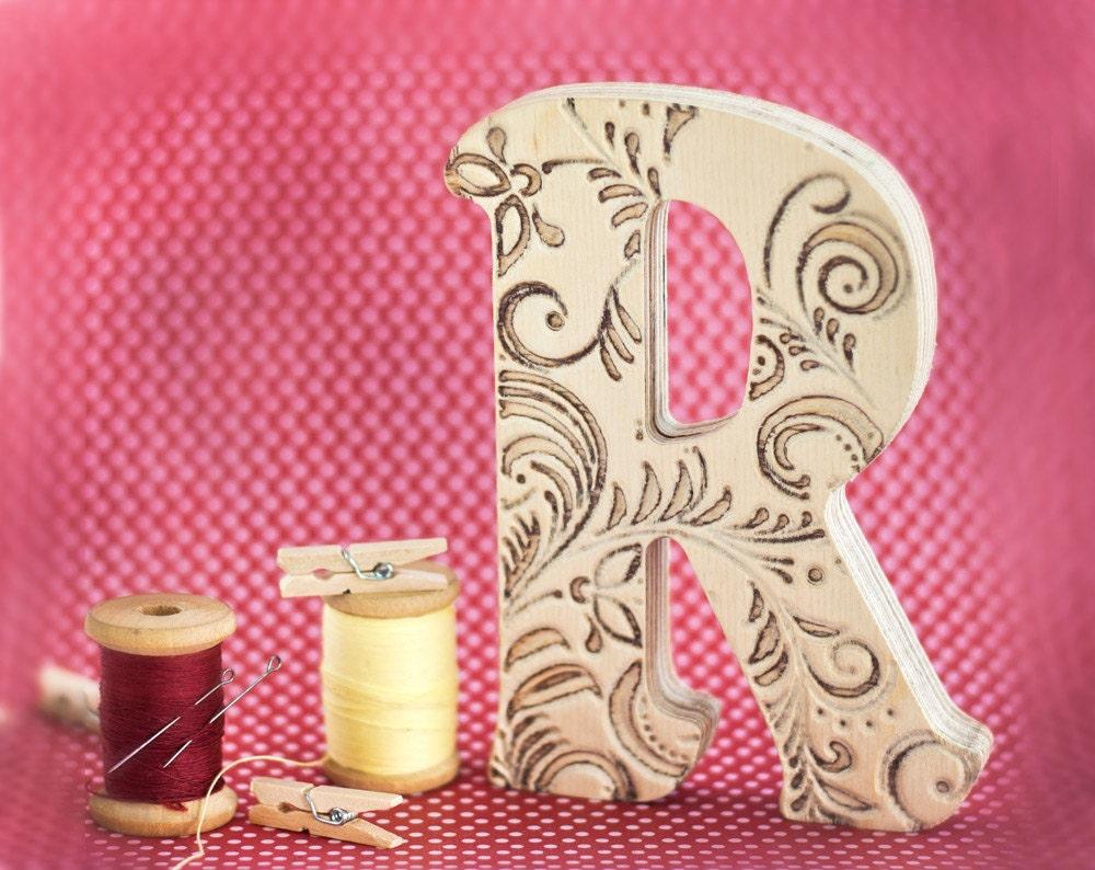 block letters wood tracery letter r monogram wood letter 5