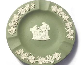 Vintage Wedgwood Ashtray, Green Wedgwood Ashtray, Green Jasperware Ashtray, Round Wedgwood #70 Ashtray, Wedgwood Cupid as Orcacle