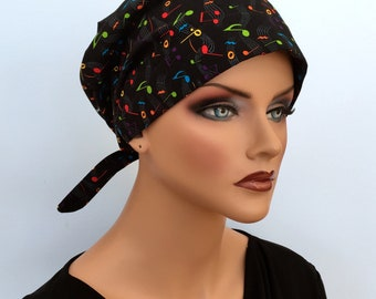 Sandra Scarf, A Women's Surgical Scrub Cap, Cancer Headwear, Chemo Head Scarf, Alopecia Hat, Head Wrap, Head Cover, Hair Loss - Music Lover