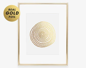 Circle of Dots Abstract Gold Silver or Rose Gold Foil Print Metallic Dot Poster Geometric Wall Poster Modern Abstract Art Print B2