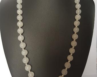 White Snow Quartz Gemstone necklace