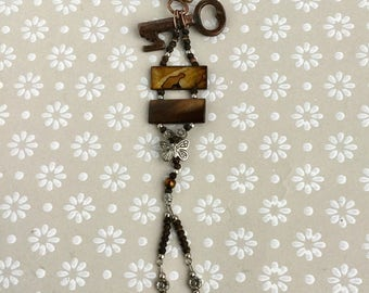 Key Necklace, Vintage Key Pendant,'Skeleton Key' With Butterfly and Vintage Tortoiseshell Beads