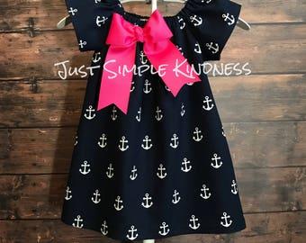 Girls Summer Dress, Navy Anchor Dress, Girls Anchor Dress, Girls Dresses, Girls Nautical Dress, Baby Girls Anchor Dress, Anchor Outfit