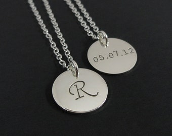 "Sterling Silver Double Sided Initial Necklace - 5/8"" Initial Disc - Personalized Initial Necklace- Long Necklace"