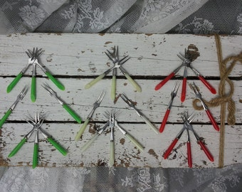Vintage Cocktail forks */metal with plastic/red/green/cream/Ecru/Years 60-70/Cocktail sticks/Retro/Mini forks/Granny