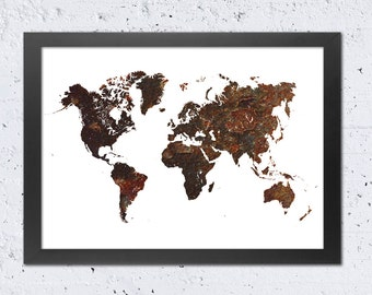 World map wall art metal etsy world map print world map silhouette rustic textured printable file rust metal modern gumiabroncs Images