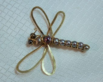 Handcrafted Natural Freshwater Pearl Dragonfly Brooch