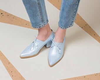 Handmade Women Leather Shoes, Oxford Shoes, Light Blue Shoes, Closed Shoes, Every Day Shoes, Comfortable Shoes, Urban Shoes