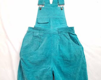 Daim Vintage salopette combinaisons courtes Shorts Womens Capezio turquoise taille moyenne Halloween barboteuse rétro