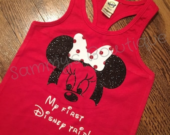 My first Disney trip girls tank! Disney tank, disney family shirts, glitter, minnie mouse tank.