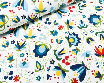 Fabric Jersey folk flowers on a white background | Per Metre