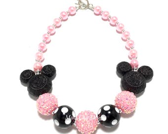 Toddler or Girls Pink Mouse Chunky Necklace - Pink, Black and White Polka dot Chunky Bead Necklace - Mouse necklace -  Double Mouse Necklace