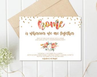 Housewarming Invitation, Housewarming Party, Fall Housewarming Party, Fall, Autumn, Floral, Watercolor, New Home, New House, Invites [654]