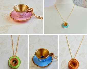 Alice in Wonderland - Tea Cup Necklace -  Miniature tea cup necklace - original Alice in Wonderland Teacup Necklace